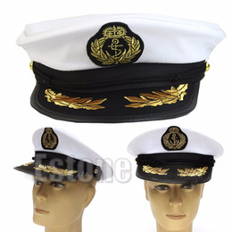 Wholesale Hat Cap Captain - Wholesale-New for White Adult Yacht Boat Captain Navy Cap Costume Party Cosplay Dress Sailor Hat
