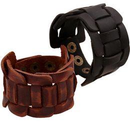 Wholesale Lucite Cuff Bracelet Vintage - Vintage Genuine Leather Bracelets Cuff Wrap Bangles Men Women Fashion Wide Button Adjustable Bracelets Christmas Best Gift PO1585