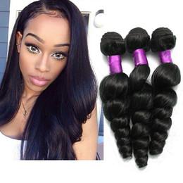 Wholesale Top Wholesale Online - 4Pcs Brazilian Virgin Hair Loose Wave Natural Black Peruvian Malaysian Brazilian Hair Weave Bundles Top Hair Extensions Loose Wave Online