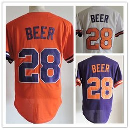 Wholesale Beer Jersey - Clemson Baseball Jersey #28 Seth Beer 2017 College ACC Clemson Jersey Home Away Orange Purple White