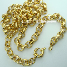 Wholesale Mens Filled Rings - 18k gold Filled belcher bolt ring Link mens womens solid necklace jewellery N220