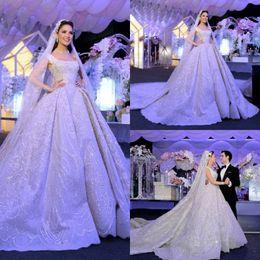 Wholesale Square Neckline - 2016 Bling Bling Sequined Wedding Dresses Square Neckline Full Length Bridal Ball Gowns Sleeveless Beaded Wedding Gown
