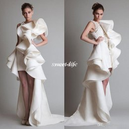 Wholesale Organza Long Sleeves Bridal Jacket - Sexy 2016 Prom Dresses One Shoulder Applique Ruffles Sheath Hi-Lo Organza Occasion Pageant Dress Krikor Jabotian Tiered Bridal Evening Gowns
