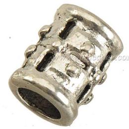 Wholesale Wholesale Chamilia Charms - Charms Beads For DIY Pandora Chamilia Biagi Bracelets Retro Silver Troll Tube Loose Bead Large Hole Metal Jewelry Findings New 9*12mm 100pcs