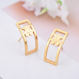 Wholesale Fashion Panda - New Design Unique Fashion Panda style stainless steel women Rectangle Square shape Spanish earrings jewelry party cute bears style gift