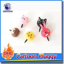 Wholesale Rabbit Dust Plugs - Resin Cartoon Rabbit Pig Duck Cat Bear Dust Plug 3.5mm Earphones Jacinths Mobile Phone Dust Plug Gifts