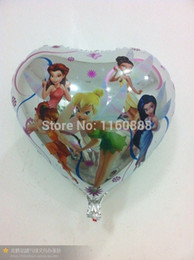 Wholesale Party Tinkerbell - wholesale 18inch heart tinkerbell elfin balloons for birthday party fairy Aluminium foil balloons mylar helium balloons