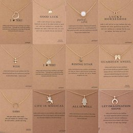 Wholesale pearl pendants - 12 Styles Dogeared choker Unicorn Necklaces With card Gold Circle Elephant Pearl Love Wings Cross Pendant Necklace For Women