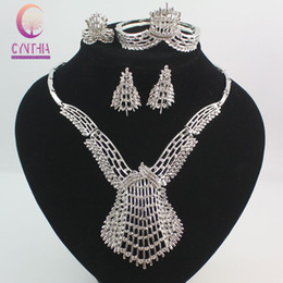 Wholesale White Pearl Costume Jewelry - Fashion Dubai Gold  Silver Plated Crystal Jewelry Sets Costume Big Design Nigerian Necklace Earrings Bracelet Ring Wedding African Beads Jew