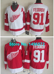 Wholesale Vintage Wings - Factory Outlet, Detroit Red Wings #91 Sergei Fedorov White Red CCM Throwback Vintage Stitched Retor Ice Hockey Jersey Size 48-56
