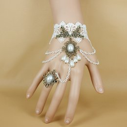 Wholesale Butterfly Bracelet For Girls - Beautiful Women's Vintage Wedding Dresses Accessories Black White Rose Lace Bracelets Flower Butterfly Bracelet Ring 2015 Jewelry For Girl