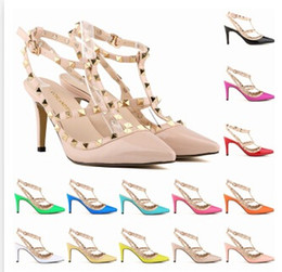 Wholesale Ladies White High Heel Shoes - Hand-Made New Lady Fashion High-heeled Shoes Girl Pointed Toe Party Club Banquet Rivet Shoes Multicolor Shoes 13 Color A142B8