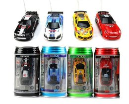 Wholesale Brushless Controller Motor Car - Free shipping drop shipping 5pcs COKE CAN mini rc car 1:63 high-speed remote control car