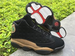 Wholesale Game 3d - Air Retro 13 Olive 3D Bred Flints Cement Grey Toes Grey Toe He Got Game Hologram Basketball Shoes Man Sneakers Running shoe Size 5-13