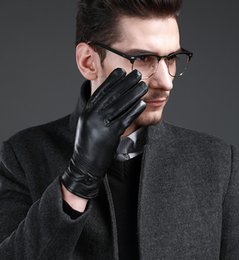 Wholesale Real Leather Men Gloves - 2017 New Men's Winter Leather Gloves 100% Sheepskin Waterproof Windproof Outdoor Driving Dress Gloves Cashmere Lining Black