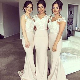 Wholesale Wedding Dress Embellishments - 2016 Embellishment Beauty With Sash Bridesmaid Dresses Long Cheap Prom Evening Wedding Occasion Trumpet Romantic Bridesmaid Dress Fresh