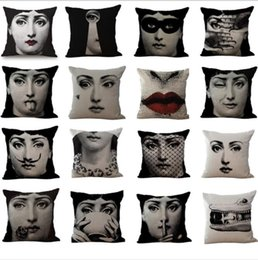 Wholesale Black Sofa Beds - Black Fornasetti maestro Pillow Case Cushion cover Linen Cotton Throw Pillowcases sofa Bed Pillow covers Free Shipping