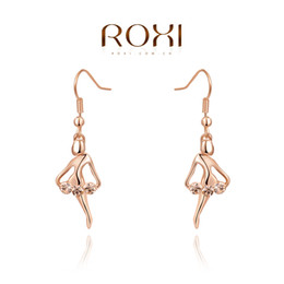 Wholesale Girls Dance Earrings Studs - 015 ROXI Free Shipping Best Gift Dancing girl Earrings,Gift to girlfriend, genuine Austrian crystals hand made fashion jewelry