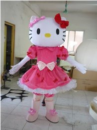 Wholesale mascot kitty - High Quality Adult Size hello Kitty Mascot Costume New Arrival Hello Kitty Cartoon Character Costumes Free Shipping