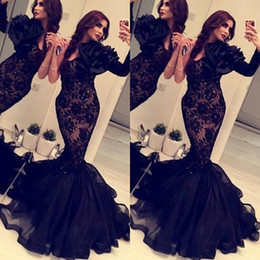 Wholesale Mermaid Handmade Flower Sweetheart - Elegant Black Lace Tulle Mermaid Prom Dresses Sexy Sweetheart Neck One Sleeve Oversize Handmade Flower Fit and Flare Pageant Evening Gowns