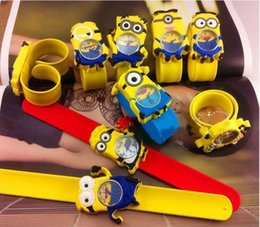 Wholesale Dad 3d Glasses - 3D Eye Despicable Me Minion Precious Milk Dad Children Watches Slap Snap On Silicone Quartz Wrist Watch FreeDHL E119L
