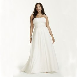 Wholesale Sash Waist Wedding Dress - Plus Size Chiffon Empire Waist Gowns With Appliques Beading Detail 9V9743 Wedding Dresses Beading Sash Bridal Dress