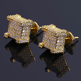 Wholesale Mans Earrings - High Quality Fashion Men HipHop Full Cubic Zirconia Stud Earrings Copper Blingbling Cz Gold Color Earrings Women Zircon Hip hop Rock Jewelry