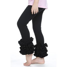 Wholesale Toddler Tight Pants For Girls - Autumn baby leggings pants solid black color cotton kids pants knitted double ruffle toddler legging for girls