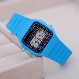 Wholesale Cheap Thin Watches Men - Fashion Men ultrathin Led Watch alarm clock Men women F-91W watches Cheap F91W fashion thin LED Silicone watches