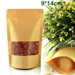 Wholesale kraft paper pouches wholesale - DHL 500Pcs Lot 9*14cm Smooth Kraft Paper Packing Bag With Matte Clear Window Zipper Ziplock Food Storage Packaging Stand Up Pouch Doypack