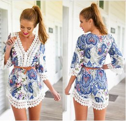 Wholesale Blue V Neck Jumpsuit - 2015 new fashion women's summer wear blue printed half-sleeves v-neck sexy casual jumpsuit without belt