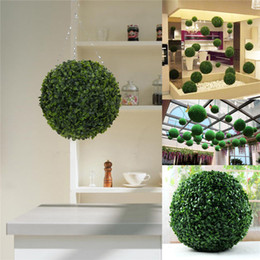 Wholesale Chinese Plastic Balls - Wholesale- Modern Plastic Topiary 28cm Artificial Leaf Effect Ball boxwood grass Ball indoor outdoor Hanging decoration