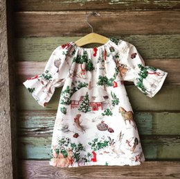 Wholesale Fashion Clothing Boutiques - 2017 christmas dresses for toddlers baby boutique clothing tree reindeer printed dress girls ruffle sleeve dress baby girl fashion clothes