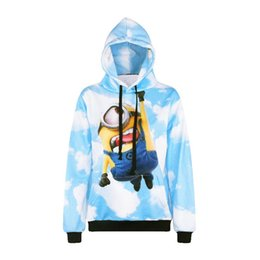 Wholesale Outwear Print Woman - w1208 Alisister cute cartoon anime pullovers Small Yellow People 3d print hoodies sweatshirt men women hooded tracksuit tops outwear