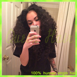 Wholesale Deep Curl Peruvian Hair - 7A Malaysian Virgin Hair Glueless Full Lace Human Hair Wig Kinky Curl Virgin Hair Lace Front Wigs Kinky Curly For Black Women