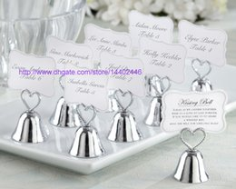 Wholesale Wedding Cards Photos - 100pcs Heart Kissing Bell Place Card Photo Holder Bridal Wedding Metal Heart Shape Favor Favors Golden Silver Color