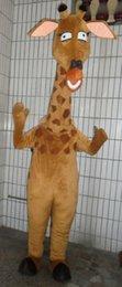 Wholesale Giraffe Mascots - Cute Brown Giraffe Giraffa Camelopardalis Mascot Costume With Small Fat Antler Rhombus Pink Ears