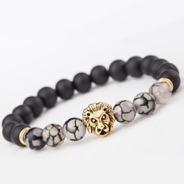 Bracelet homme tête de lion en or en Ligne-2 Style Hommes Femmes Noir Mat Agate 8 MM Perles Stretch Bracelet avec Divers Perles Alliage Or Lion Head Support FBA Drop Shipping D230S
