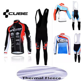 Wholesale Cube Cycling Set - New CUBE cycling jersey sets Winter Thermal Fleece Bisiklet jacket bike maillot ropa ciclismo Bicycle clothes free shipping