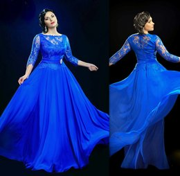 Wholesale Sleeved Chiffon Prom Dresses - Design Formal Royal Blue Sheer Evening Dresses Under 100 With 3 4 Sleeved Long Prom Gowns UK Plus Size Dress For Fat Women