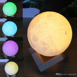 Wholesale Night Moon - 3D LED Night Magical Moon LED Light Moonlight Desk Lamp USB Rechargeable 3D Light Colors Stepless for Home Decoration Christmas lights