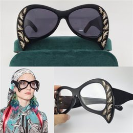 Wholesale Sunglasses Boxes - The latest women sunglasses special design exquisite print frame fashion avant-garde style top quality UV protection eyewear with box 0143