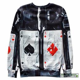 Wholesale Poker Sleeve - Wholesale-Alisister new fashion fall men women's pullover hoodies print 3D graphic poker sweatshirt funny harajuku sweatshirt plus size