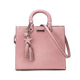 Wholesale Cell Phone Pendants - New Arrival Women Handbags Fashion Lady Plain Pink Tote Stars Tassel Pendant Brand Designer Big capacity Square Shoulder Bags Zipper WDS596