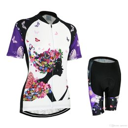 Wholesale Women Bike Suit - Women Newest Items Cycling wear Suit Purplel Butterfly Girl Kiss Disign Team Cycling Sets Durable Anti Bacterial Outdoor Bike Clothing