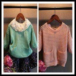 mädchen sammelte taschenhemden Rabatt Kinder Mädchen Frühling Shirt runden Kragen aushöhlen halbe Ärmel mit Taschen Strickwaren Kinder Pullover Kinder Kleidung
