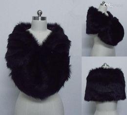 Wholesale Stock Free Bolero - Free Shipping Fashion Black Faux Fur Wrap Bridal shawl Bolero Jacket Cheap Winter Warm Wedding Wraps In Stock For Party Bride Jackets