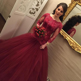 Wholesale Sequin Fit Flare Dress - 2017 Arabic Burgundy Prom Dress Long Formal Fit and Flare Prom Dresses Bateau Neck Beaded Lace Appliques Illusion Sleeves Tulle Evening Gown