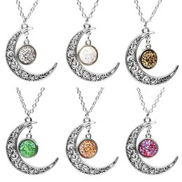 JDX Fashion Moon Ancient Silver Necklace Multilayer Sequins Rhinestone Tassel Pendants Chain Necklace