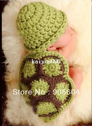 Wholesale Baby Tortoise - Hot selling!Lovely Baby Infant Tortoise Newborn Turtle Costume Photo Photography Prop Knit Crochet Clothes Beanie Hat Outfit